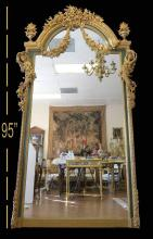 Very Fine Palatial French Wood Carving Figural Mirror