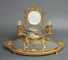 French Bronze Vanity Set & Mirror