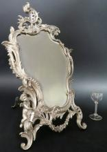 Large French Silver-Plated Figural Mirror