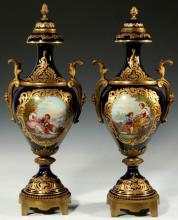 Pair of 19th C. Bronze Mounted Sevres Porcelain Urns