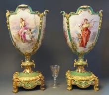 Pair of Monumental Sevres & Champleve Enamel Vases 24''