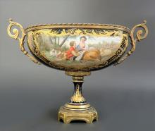 Hand Painted French Bronze & Sevres Porcelain Centerpie