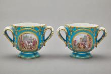 Pair of Sevres Style Gilt and Polychrome Decorated Porc