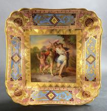 19Th .Royal Vienna Square Porcelain Plate.