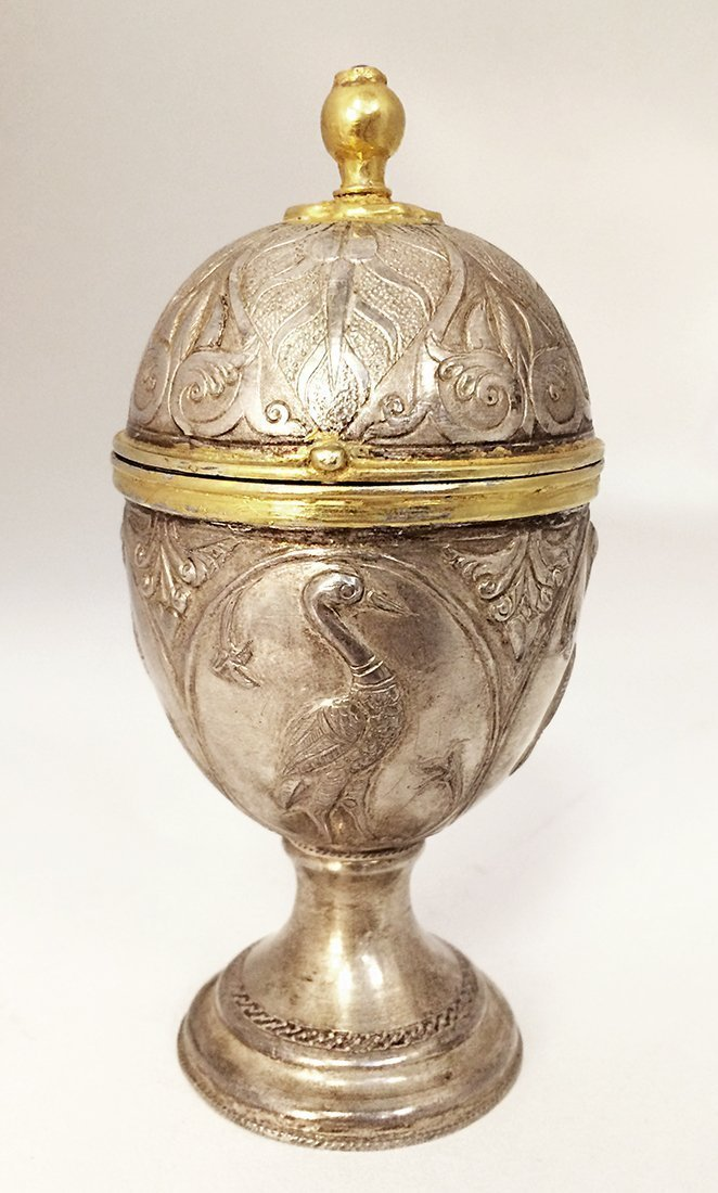Antique Russian Egg Shape Jewelry Box