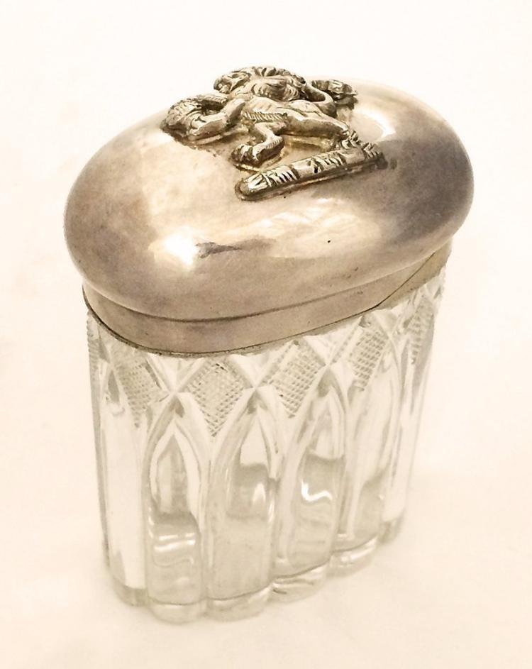 Sterling Silver Mounted On Glass Jar