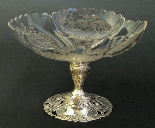 Sterling Silver Mounted Baccarat Etched Glass Tazza