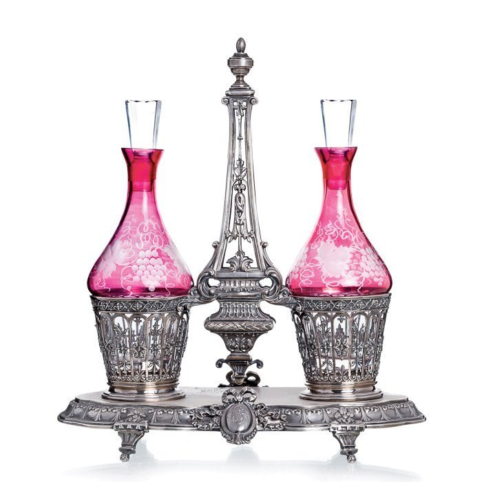 French silver cruet glass