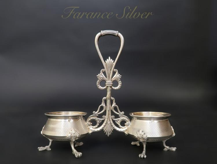 Superb Antique Franch 900 Silver Salt and Papper bowl