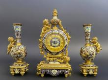 French Bronze & Champleve Enamel Clock Garniture