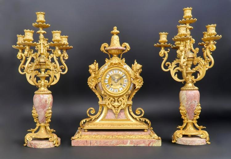 Beautiful 19th C. Bronze & Rouge Marble Clock Set