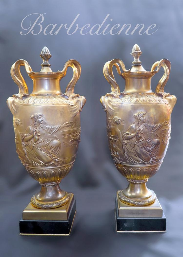 Exceptional19th C. Pair of Bronze Urns By Barbedienne
