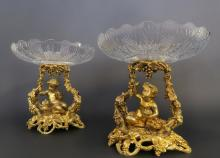 Pair of 19th C. Figural Bronze & Baccarat Tazze