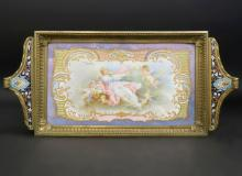 Exceptional Bronze & Champleve Enamel Hand Painted Tray