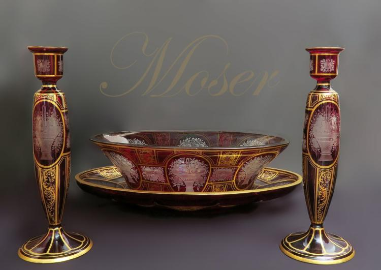 19th C. Bohemian/Moser Centerpiece Candle Sticks