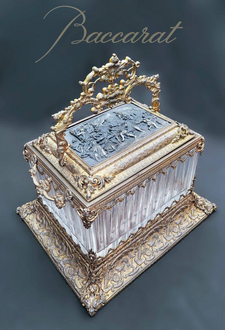 Large 19 C Bronze & Baccarat Crystal Jewelry Box/Casket