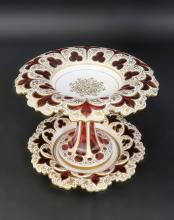 Exceptional 19th C. Diamond Cut Moser Centerpiece