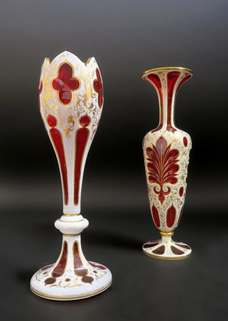 Exceptional 19th C. Diamond Cut Moser Vases