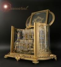 19th Bronze & Baccarat Crystal Tantalus/Cave a Liqueur