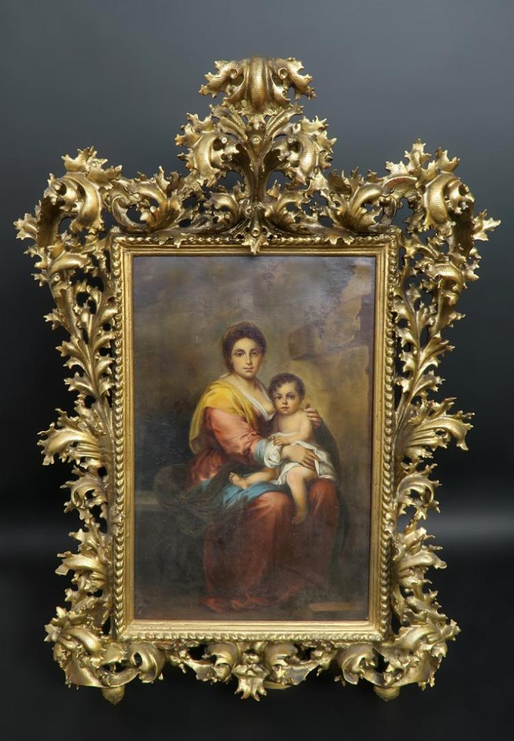Exceptional 19th C. Oil on Canvas Mother and Child