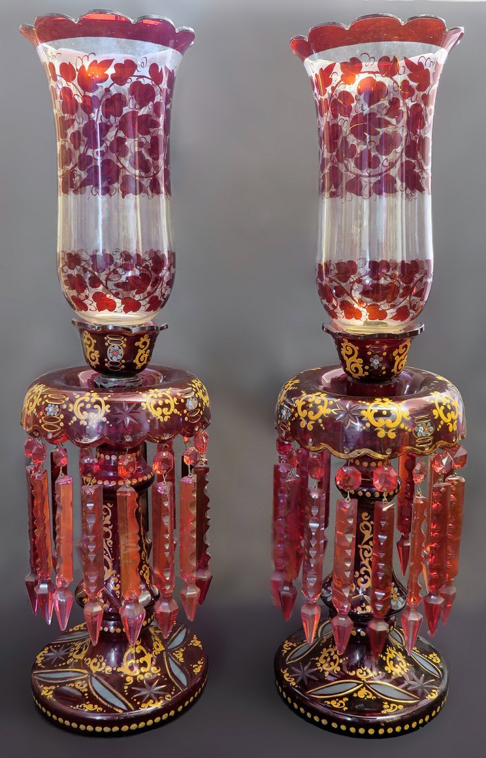 Magnificent Pair of 19th Century Bohemian Qajar Shades