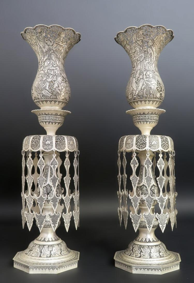Amazing Monumental Persian Hand Engraved Silver Shades
