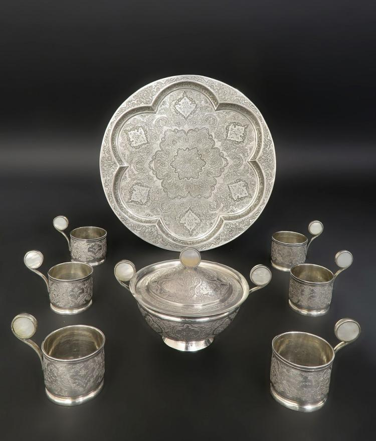 Hand Engraved Hallmarked 84 Silver Persian Tea Service
