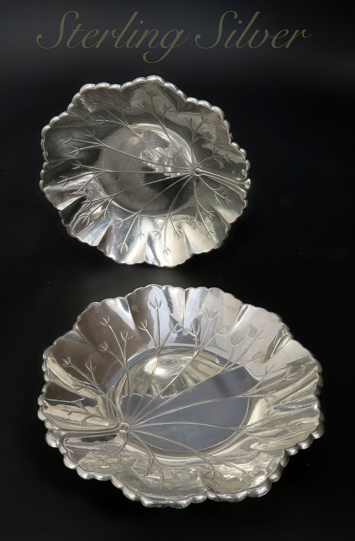 A Pair of Sterling Silver Candy Plate