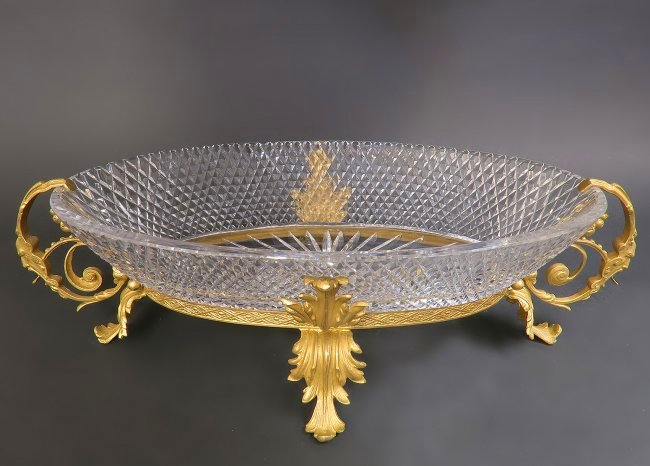 Very Large Bronze and Baccarat Crystal Centerpiece 23in