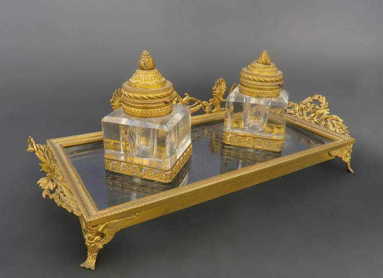 19th C. French Bronze & Baccarat Crystal Inkwell