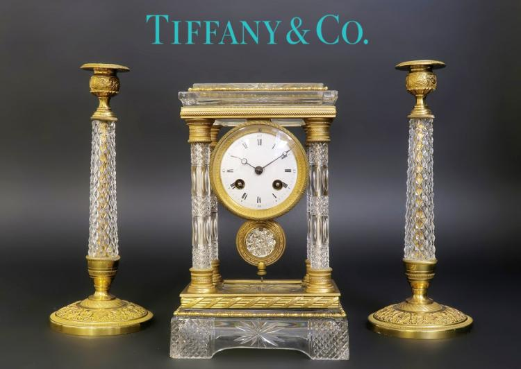 19th C. Tiffany & Co French Baccarat Clock Set