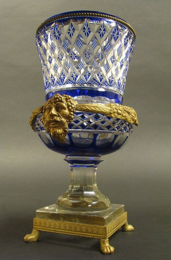 19th C. Austrian Bronze and Blue Cut Crystal Vase