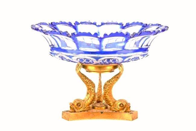 19th C. Bronze and Crystal Centerpiece