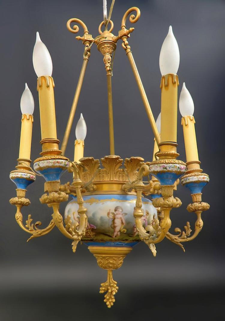 Magnificent 19th C. Celeste Blue Sevres Chandelier