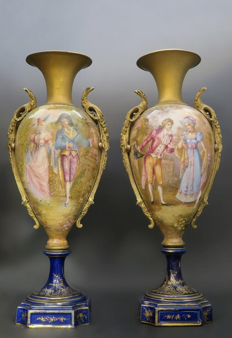 19th C. Pair of Sevres Porcelain & Enamel Urns 20''