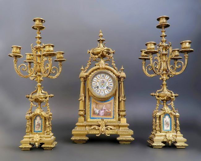 19th C. French Bronze & Sevres Porcelain Clock Set