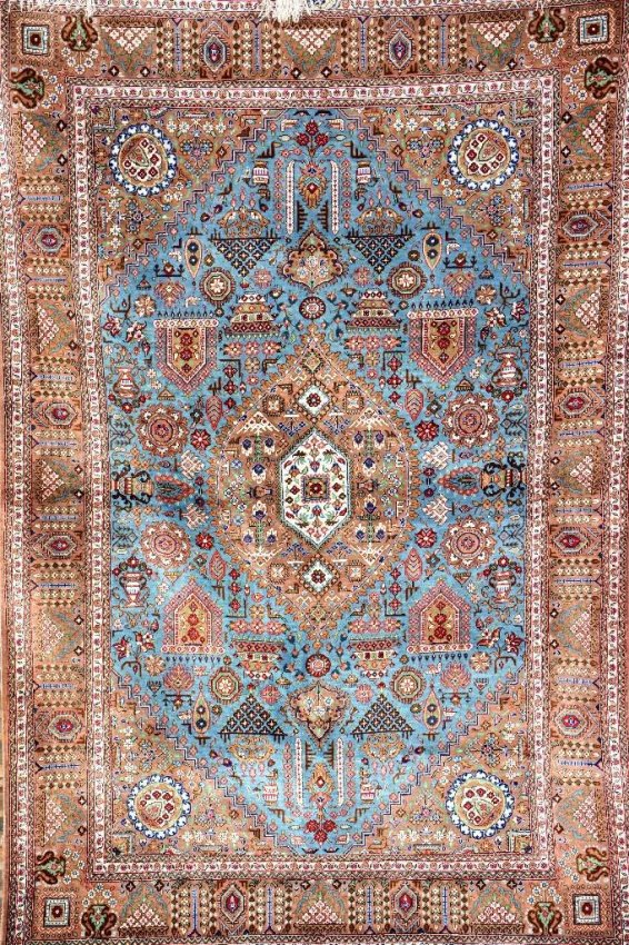 Semi Antique Persian Silk Signed Qom Rug