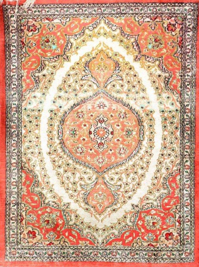 Semi Antique Persian Silk Qom Rug