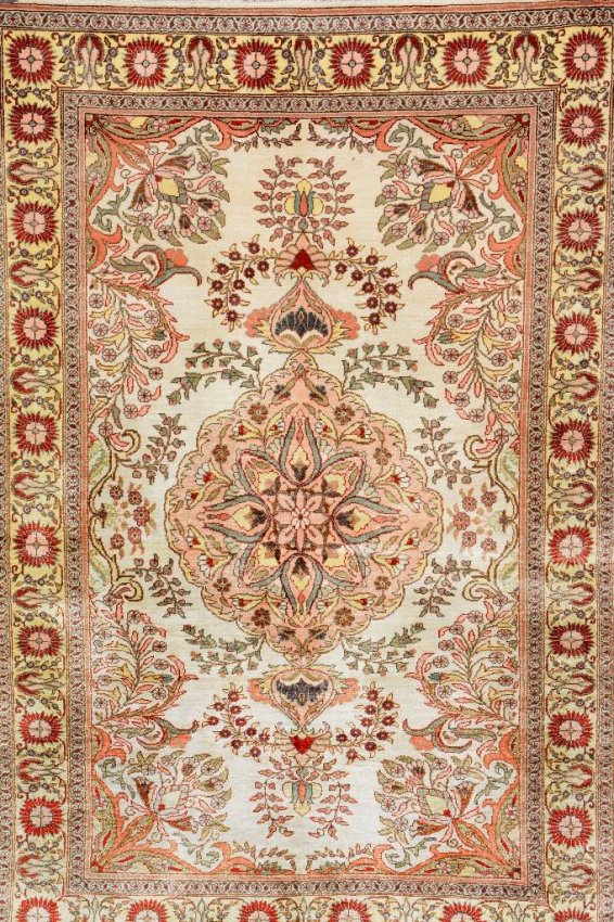 Semi Antique Turkish Silk Kayseri Rug