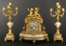 19th C. French Bronze & Marble Figural Clock Set