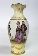 French Panoramic Hand Painted Cream White Vase