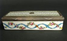 19th C. Sterling Silver & Sevres Porcelain Jewelry Box