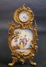 19th C. Hand Painted Viennese Enamel & Bronze Clock