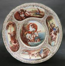 19th C. Hand Painted Viennese Enamel on Silver Plate