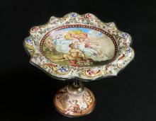 19th C. Viennese Enamel Miniature Figural Compote