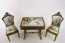 Viennese Enamel Hand Painted Bronze Chairs and Table