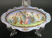 Viennese Enamel on Silver Miniature Plate