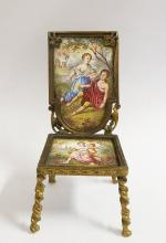 19th C. Viennese Enamel & Bronze Miniature Chair