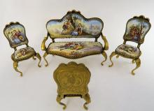 Viennese Enamel Hand Painted Bronze Salon Set
