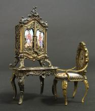 Viennese Enamel on Silver Miniature Dressing/Chair